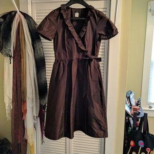 J. Crew silk dress ruffle, wrap & pockets